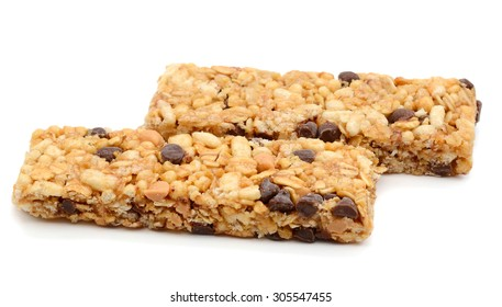 peanut butter chocolate bars on white background