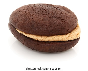 Peanut Butter Chocolate Whoopie Pie Shot On White Background