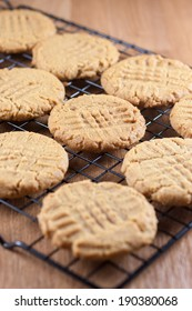 Peanut Butter Cookies cooling on a rack.
