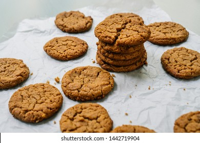 Peanut butter cookies on light background, pastry background.