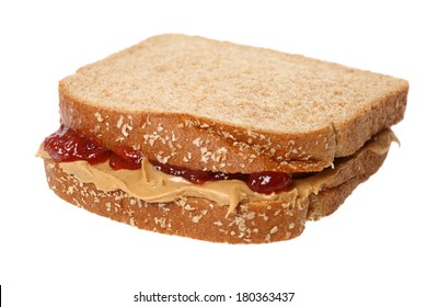 Peanut butter and jelly sandwich, cutout on white background