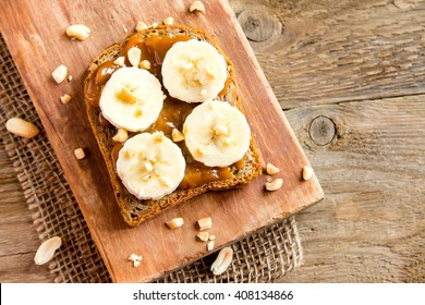 Peanut butter sandwich with banana for breakfast