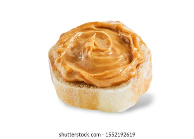 Peanut butter sandwich on a white isolated background. toning. selective focus