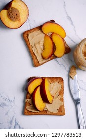 peanut butter toast with peach  and milk .selective focus