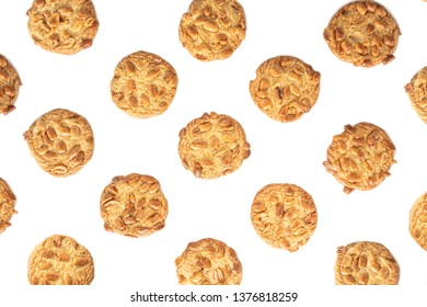 peanut cookie on white background.