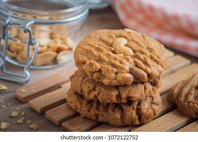 Peanut cookies on wooden plate