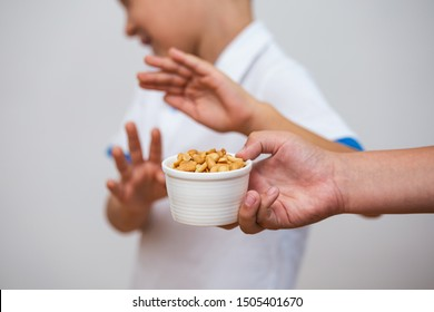 Peanut food allergy concept. Great concept of allergy and skin diseases. Nut allergies. No peanuts. Food allergy symptoms, Irritation
