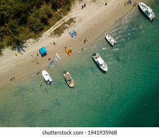 Peanut Island drone photography of boats at the sandbar and Singer Island near West Palm Beach, Florida, Palm Beach County - Shutterstock ID 1941935968