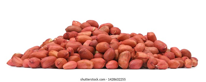 Peanut nuts isolated on white background. Pile of peanut closeup without shell for your design and print. Nuts collection