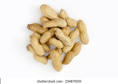 Peanuts from above on white background