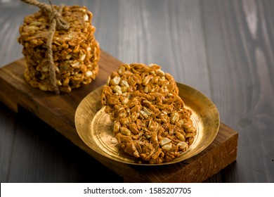 Peanuts brittle or groundnut chikki with jaggery or gachak