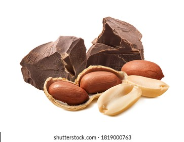 Peanuts and chocolate chunks isolated on white background. Package design element with clipping path