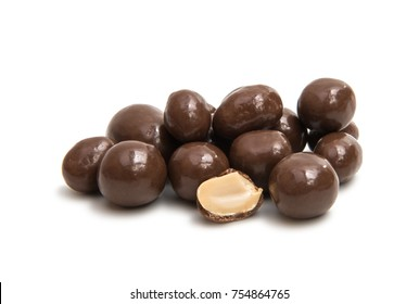 peanuts in chocolate on a white background