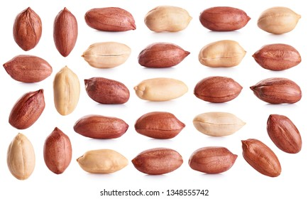 Peanuts collection isolated on white background. With clipping path.