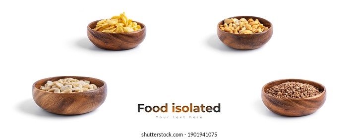 Peanuts, cornflakes, cashews, buckwheat in wooden bowl isolated on a white background. High quality photo