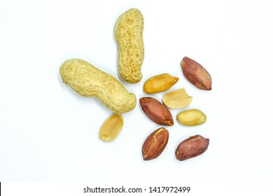 Peanuts isolated. Peanut on white background.