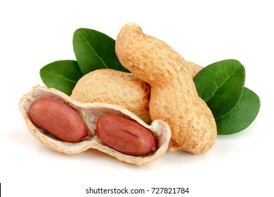 peanuts with leaf isolated on white background