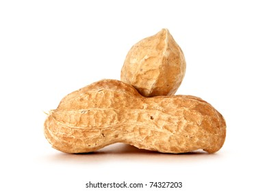 peanuts over white background
