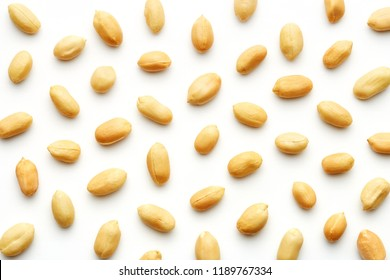Peanuts pattern isolated on a white backround. Repetition concept. Top view