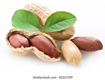 Peanuts with peanut leaves. Isolated on a white background.