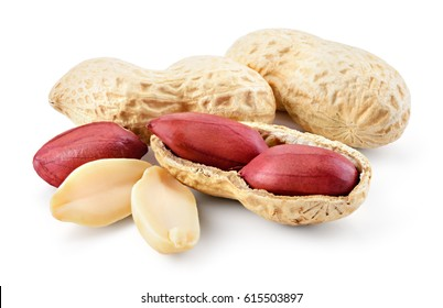 Peanuts. Roasted nuts isolated on white background. Full depth of field.