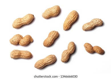 Peanuts in shells isolated on white.