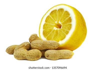 Peanuts with shells and juicy lemon. Unpeeled peanuts isolated on white background. Full depth of field.
