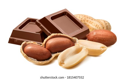 Peanuts in shells and milk chocolate isolated on white background. With clipping path. Full depth of field