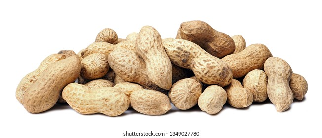 Peanuts with shells. Unpeeled peanuts isolated on white background. Full depth of field.