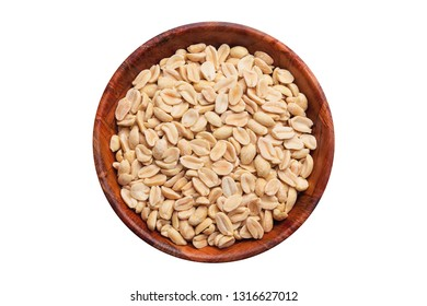 Peanuts in wooden bowl isolated on white in studio. Healthy nut diet food background.