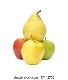 Pear balances on top of three apples