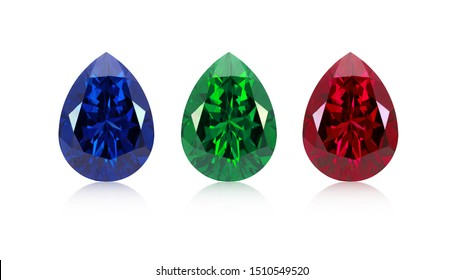Pear cut red ruby ,blue sapphire ,green emerald precious stones on white isolate