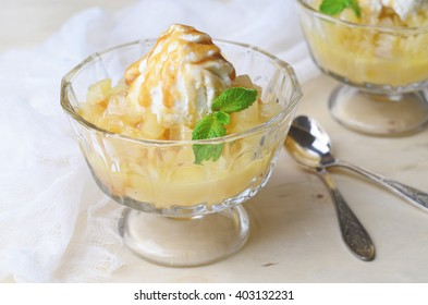 Pear Dessert with Ice-Cream and Caramel