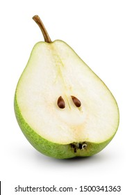 Pear half isolated. Cut pear on white background. With clipping path.