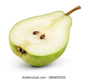 Pear half isolated. Cut pear. Pear slice on white background. With clipping path. Full depth of field.