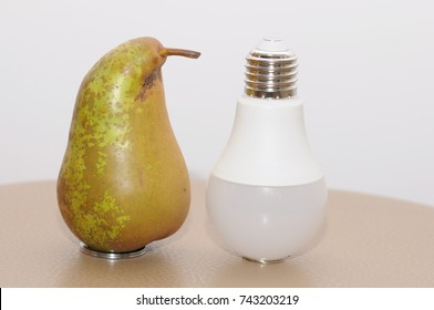 Pear and light bulb.