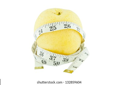 Pear measured the meter isolated on white, weight loss concept