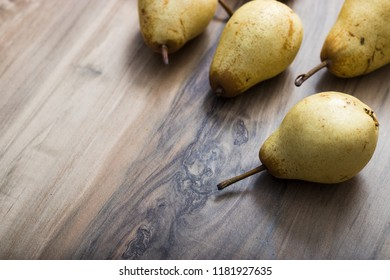 pear on a wooden table