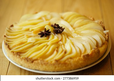 Pear tart with anise closeup