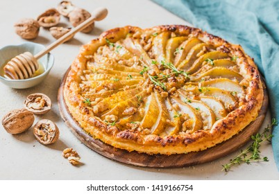Pear tart with nuts and honey homemade pie.