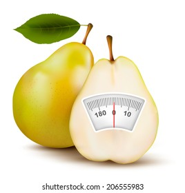 Pear with weight scale. Diet concept.
