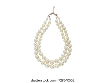 Pearl beaded double necklace isolated on white background