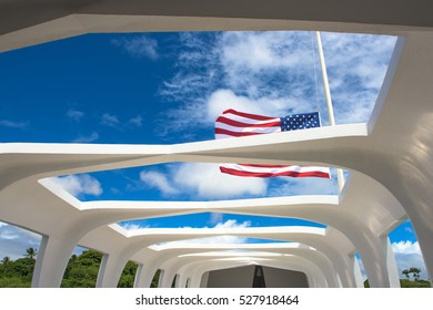 Pearl city, United States - August 21, 2016: Inside the USS Arizona memorial, Pearl Harbor, Hawaii