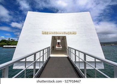 Pearl city, United States - August 21, 2016: Entrance to the USS Arizona memorial