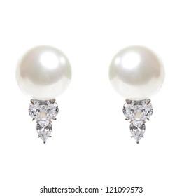Pearl CZ Stud Earrings