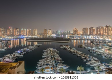 Pearl, Doha/Qatar- March 08,2018: Pearl Round about Doha Qatar at Golden and Blue hour
