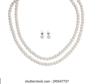 Pearl Earring and necklace isolated on white