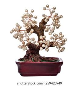 pearl handmade bonsai tree  isolated on white background