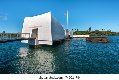 Pearl Harbor, Hawaii, Oahu - January 8, 2017: The USS Arizona Memorial marks the resting place of sailors and Marines killed on USS Arizona during the Japanese attack of December 7, 1941