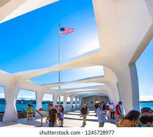Pearl Harbor, Hawaii, USA - January 8, 2017: The USS Arizona Memorial is one of several sites in Hawaii and elsewhere that are part of the World War II Valor in the Pacific National Monument.